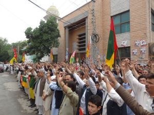 A large number of HDP workers and leadership protesring outside Quetta Press Club